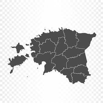 Mappa dell'estonia isolata su trasparente
