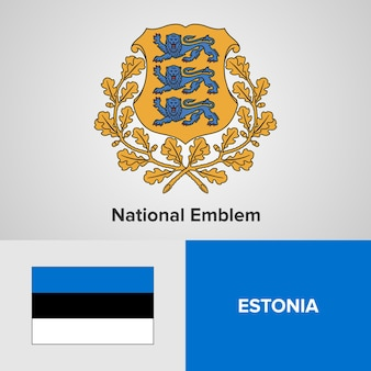 Estonia national emblem and flag