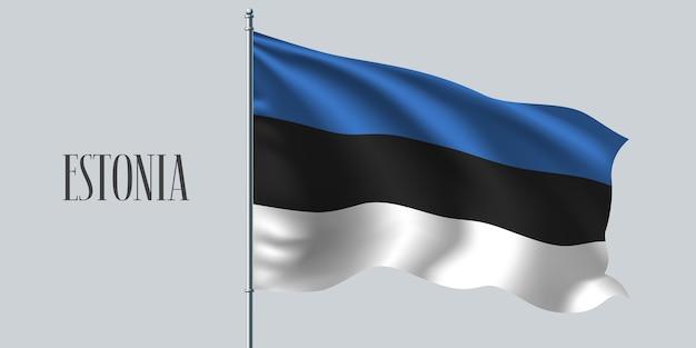 Estonia sventolando bandiera sul pennone.