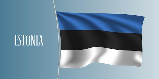 Estonia sventolando bandiera. elemento di design iconico come bandiera nazionale estone