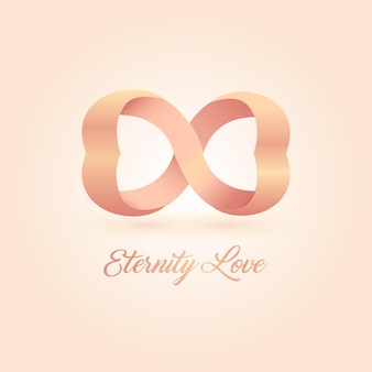 Logo dell'eternità amore. cuori collegati rosa. amore senza fine