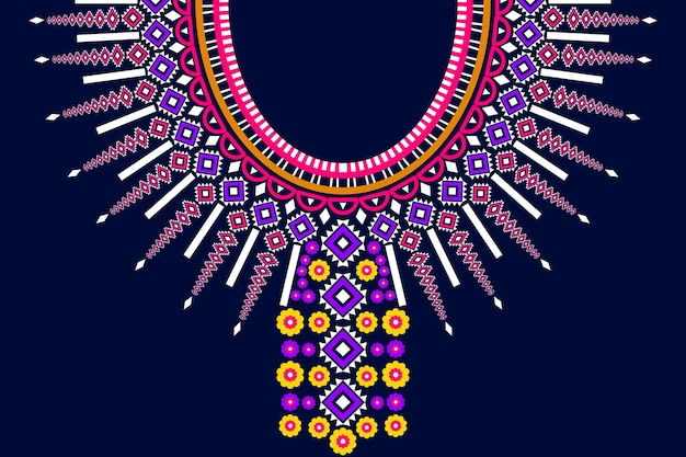 Modello etenico geometrico orientale e tradizionale del ricamo di collana tribale per la decorazione di abiti da donna di moda. avvolgimento di vestiti, sfondo splendente in stile tradizione