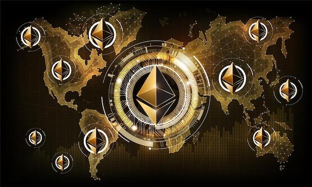 Valuta digitale di ethereum sulla mappa mondiale della tecnologia futuristica dell'oro del denaro digitale rete mondiale