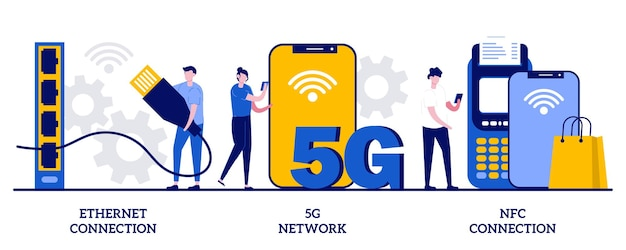 Connessione ethernet, rete 5g, concetto di connessione nfc