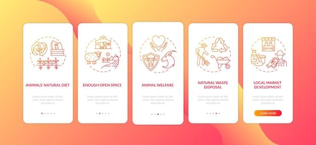 Produzione etica dell'industria lattiero-casearia rossa sulla schermata della pagina dell'app mobile di imbarco con concetti.