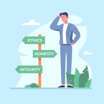 Illustrazione di concetto di dilemma etico