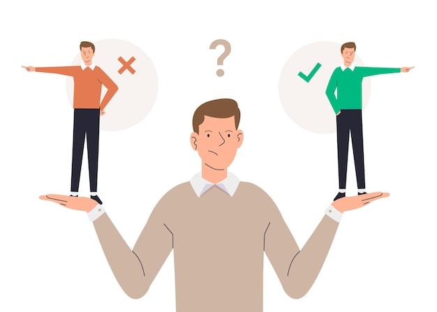 Illustrazione di dilemma etico con l'uomo che sceglie tra giusto o sbagliato