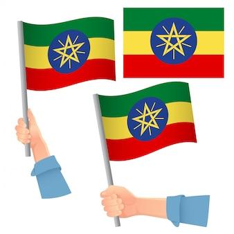 Bandiera dell'etiopia in mano