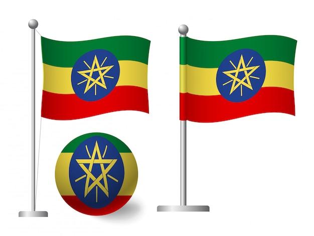 Bandiera dell'etiopia sull'icona palo e palla