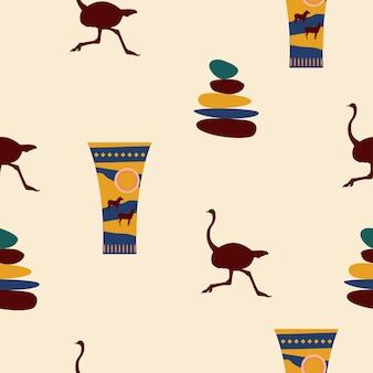 Reticolo senza giunte del vaso africano etnico. simboli tribali tradizionali africani.