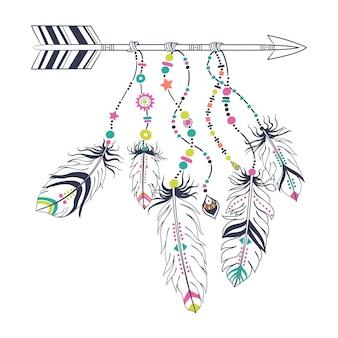 Frecce etniche e piume isolate su bianco