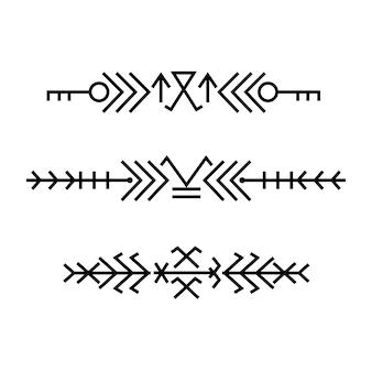 Baltico etnico bordi dell'ornamento di arte lineare popolare.