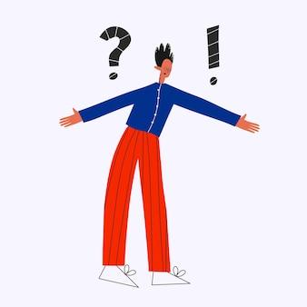 Etnico uomo d'affari esclamativo e punto interrogativo