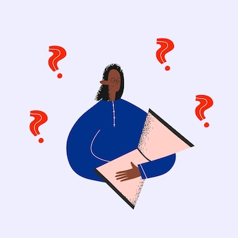 Donna d'affari etnica con clessidra e punti interrogativi