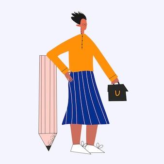 Donna d'affari etnica con una matita grande