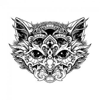 Illustrazione etnica testa di gatto e libro da colorare