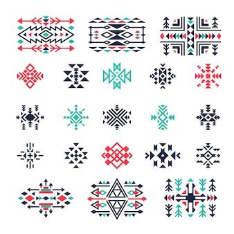 Simboli geometrici etnici. tribale messicano azteco triangolo americano indiano forme e decorazioni di forme. illustrazione geometrica etnica messicana e azteca, nativa