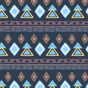 Etnico fatto a mano, decorazione astratta ornamento tribale seamless pattern illustrazione vettoriale