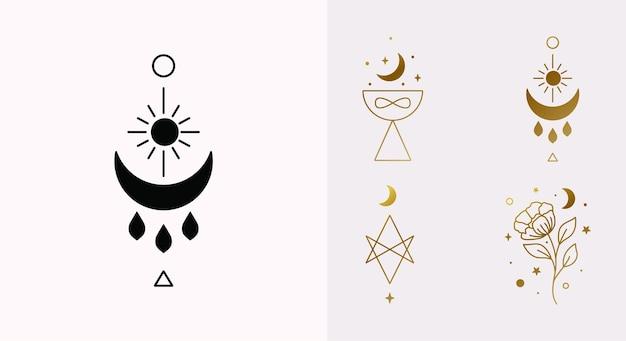 Set di logo etnico magico e mistico con simboli della tazza di benedizione della luna esagramma del sole in vector