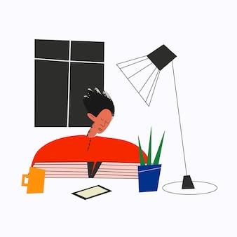 Uomo etnico che dorme alla scrivania con un libro