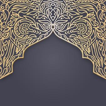 Ornamento etnico cornice bordo oro colorf sfondo