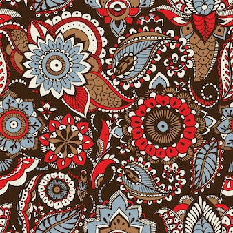 Motivo paisley etnico con elementi mehndi floreali arabi tradizionali