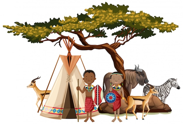 Popolo etnico delle tribù africane in abiti tradizionali in natura isolata