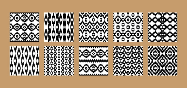 Set di modelli etnici senza soluzione di continuità sfondi rustici astratti ripetuti