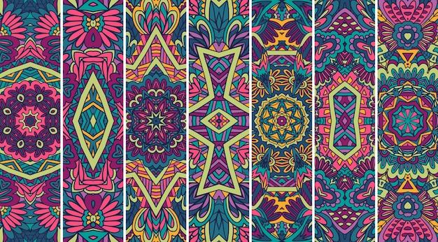 Collezione di sfondo ornamentale banner tribale etnico