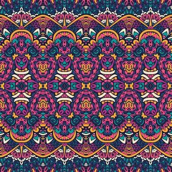 Motivo festivo tribale etnico per tessuto geometrico astratto colorato senza cuciture ornamentale