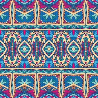 Modello festivo tribale etnico per tessuto. ornamentale senza cuciture variopinto geometrico astratto.