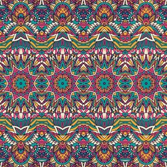 Modello senza cuciture colorato psichedelico floreale tribale etnico