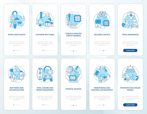 Set di schermate della pagina dell'app mobile per il riciclaggio di etrash