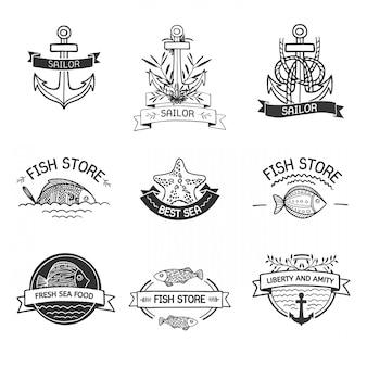 Insegne o logotipi vintage etro con pesci, elementi marini e nastri.