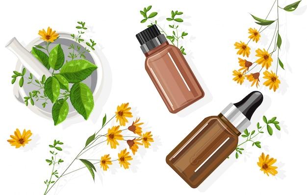 Bottiglia di olio essenziale di eucalipto con contagocce