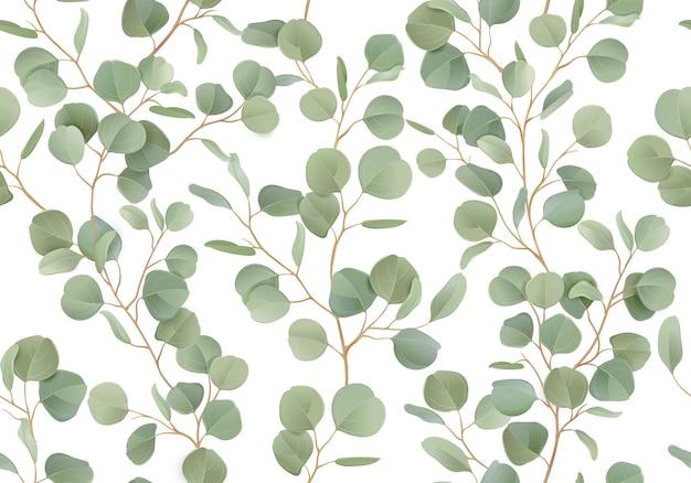 Modello senza cuciture dell'acquerello floreale di eucalipto. illustrazione vettoriale sfondo di rami di verde tropicale. design rustico estivo per tessuti, decorazioni per matrimoni, copertine romantiche, fondali, stampe su carta