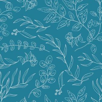 Eucalipto lascia il reticolo senza giunte lineare di vettore. trama decorativa di erbe esotiche. rami di piante, ramoscelli con illustrazione del profilo del fogliame. carta da parati botanica, tessile, design della carta da imballaggio.