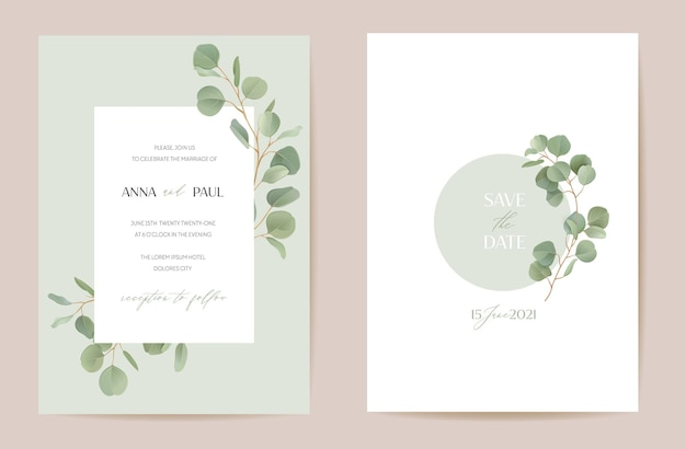 Corona floreale realistica di eucalipto con foglie di rami di verde acquerello. illustrazione della bandiera dell'annata di vettore estate. invito matrimonio moderno alloro, carta cornice alla moda, design di lusso