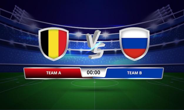 Tabellone segnapunti completo della coppa euro belgio vs russia calcio
