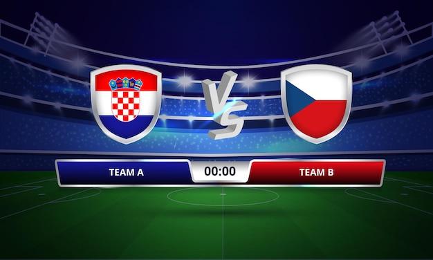 Trasmissione del tabellone segnapunti della partita di calcio della coppa euro croazia vs repubblica ceca