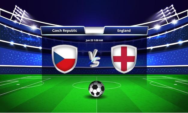 Trasmissione del tabellone segnapunti della partita di calcio della coppa europa repubblica ceca vs inghilterra