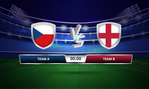 Trasmissione del tabellone segnapunti della partita di calcio dell'inghilterra vs repubblica ceca