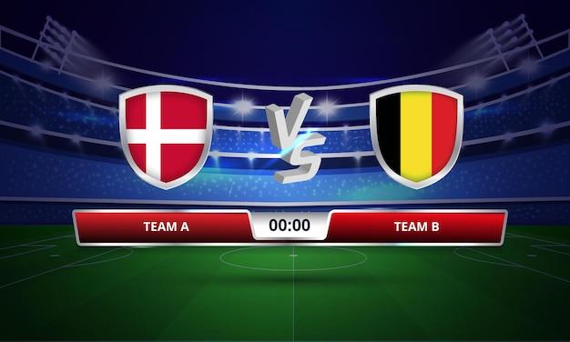 Trasmissione del tabellone segnapunti della partita di calcio della coppa euro danimarca vs belgio