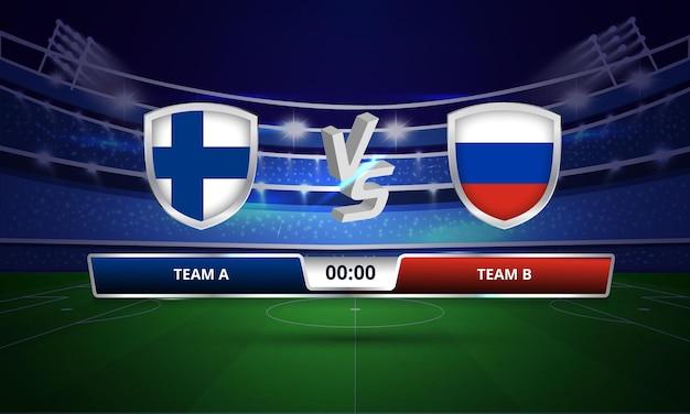 Trasmissione del tabellone segnapunti della partita di calcio della coppa euro finlandia vs russia
