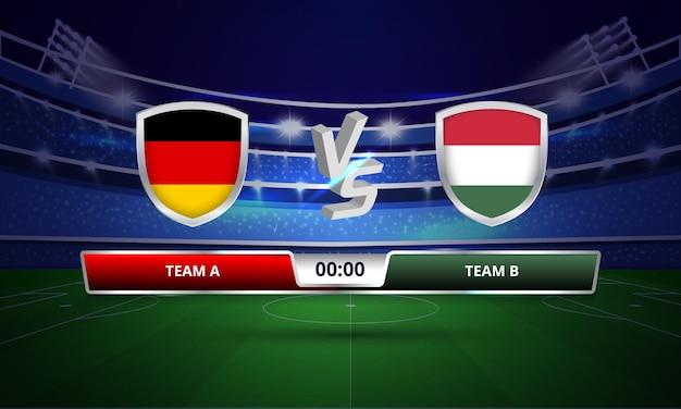 Trasmissione del tabellone segnapunti della partita di calcio dell'euro coppa germania vs ungheria
