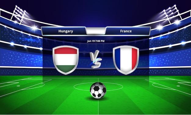 Trasmissione del tabellone segnapunti della partita di calcio della coppa europa ungheria vs francia
