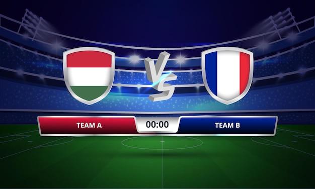 Trasmissione del tabellone segnapunti della partita di calcio dell'euro cup ungheria vs francia