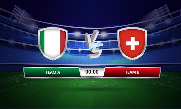 Trasmissione del tabellone segnapunti della partita di calcio della coppa euro italia vs svizzera