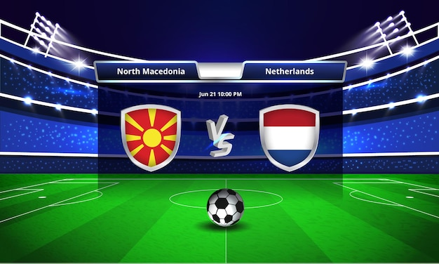 Trasmissione del tabellone segnapunti della partita di calcio della coppa euro macedonia del nord vs olanda