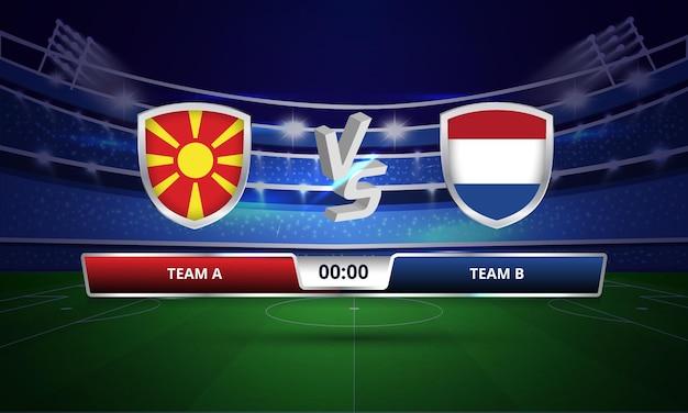 Trasmissione del tabellone segnapunti della partita di calcio dei paesi bassi contro la macedonia del nord